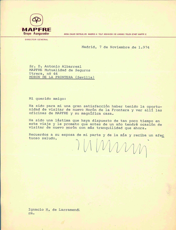Carta de Ignacio Hernando de Larramendi a Antonio Albarreal tras la inauguración de la oficina en Morón en 1974