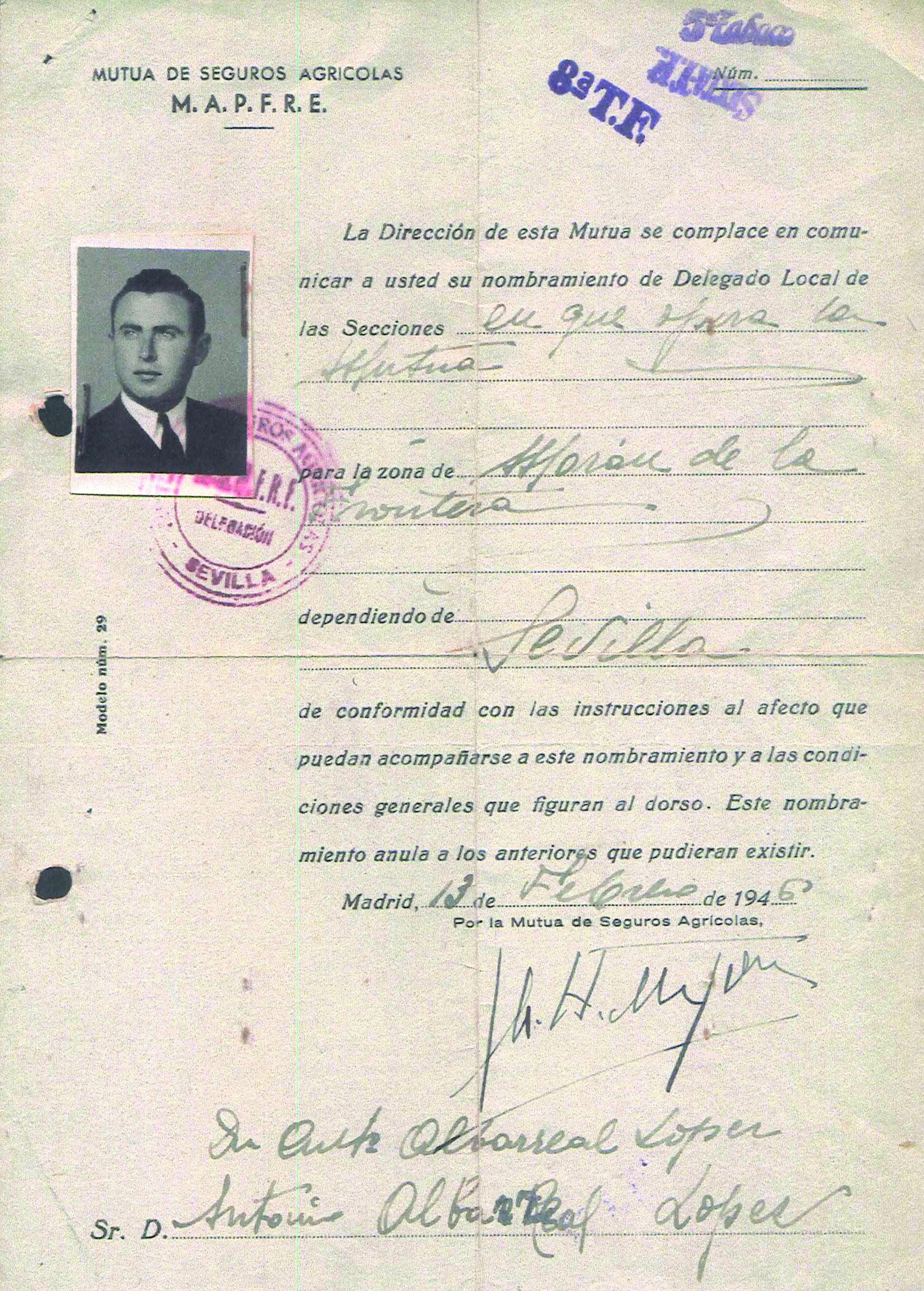 Copia primer contrato 1946